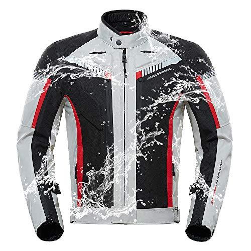 XPF Herbst Winter Motorradjacke Männer Wasserdicht Winddicht Moto Jacke Reiten Racing Motorradbekleidung Schutzausrüstung,Beige-XL