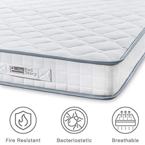 BedStory Mattress, Single Mattress 3ft Sleeping Sprung Mattress 2.15mm Medium Firm Bonnell Spring Mattress with Breathable Fabric Fire Resistant Barrier Skin-friendly Durable for Bedroom