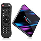 [Android 10.0 TV Box] H96 Max Smart TV Box 4GB+64GB RK3318 Quad Core 64Bit CPU Boîtier TV, 2021 Nouveau Set Top Box Support 4K Ultra HD 2.4G/5GHz WiFi 100M LAN 3D H.265 Bluetooth4.0