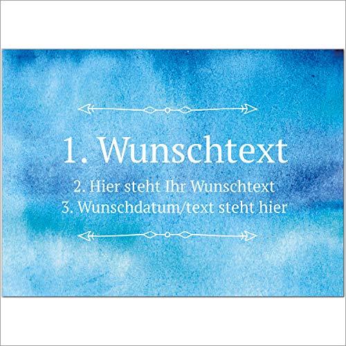 8 x Personalisierte Gruß-Karten mit Ihrem Wunschtext, Motiv Aquarell Blau, als Einladung, Save The Date, Dankeskarte oder Geburtstagskarte, DIN A6