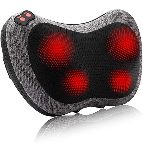 Papillon Back Massager with HeatShiatsu Back and Neck Massager with Deep Tissue KneadingElectric Back Massage Pillow for BackNeckShouldersLegs FootBody Muscle Pain ReliefUse at HomeCarOffice