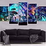 Agreey Leinwand Wandkunst Modulare Bilder Wohnkultur 5 Stücke Gemälde Wohnzimmer HD Gedruckt Animation Poster Rahmen, Mit Rahmen, 40X60 40X80 40X100 cm