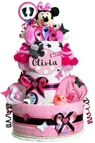 MomsStory - Windeltorte Mädchen | Minnie Mouse Disney | Baby-Geschenk zur Geburt Taufe Babyshower | 3 Stöckig (Rosa-Pink-Schwarz) XXL Groß mit Plüschtier Baby-Schuhchen Lätzchen Schnuller & mehr