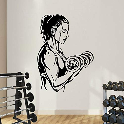 Creativo Girls Gym Calcomanía deportiva Muscle Power Dumbbells Mujer Fitness Bodybuilding Club Training Decoración del hogar Vinilo Adhesivo de pared Art mural poster
