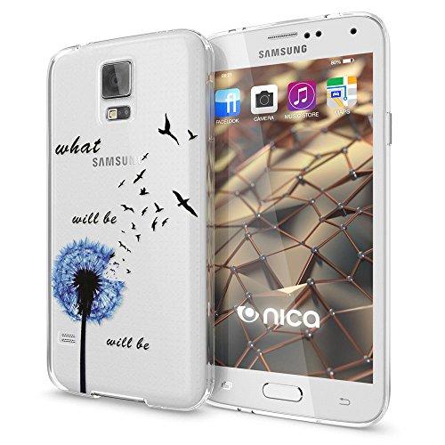 NALIA Handyhülle kompatibel mit Samsung Galaxy S5 S5 Neo, Slim Silikon Motiv Hülle Hülle Cover Crystal Dünn Durchsichtig, Etui Handy-Tasche Back-Cover Transparent Bumper, Designs:Dandelion Blau