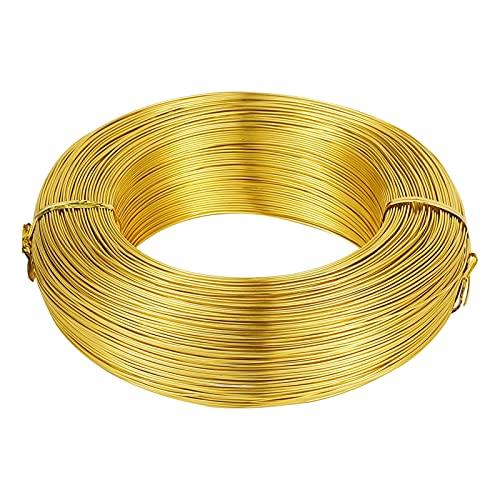 HLH Alambre de aluminio de 500 g, accesorios de joyería para hacer collares, pulseras, manualidades, 0,6, 1,2, 1,5, 2,0, 3,0 mm (color: dorado, tamaño: 0,6 mm 560 m)
