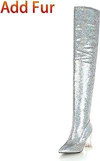 Venta barata HOESCZS 2018 2018 2018 Pao de Lentejuelas Tamao Grande 32-43 2018 Moda Mujer botas Zapatos Mujer Tacones Altos sobre la Rodilla botas Mujer Zapatos  bajo precio del 40%