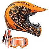 Typhoon Adult ATV MX Helmet Goggles Gloves Gear Combo Matte Orange w/Orange (Large)