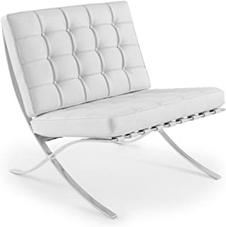 Set of 2 Chairs in White Leather Chair Replica of Mies Van Der Rohe Chairs