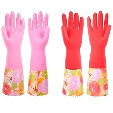 Cleaning Gloves, Non-Slip Household Kitchen Dishwashing Gloves with Lining for Women (2 Pairs)