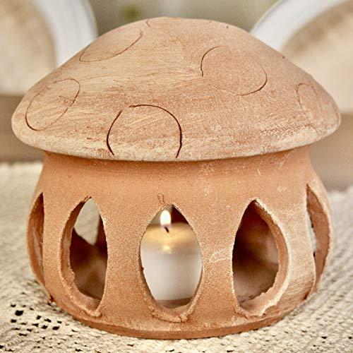 Lanterna Fungo da tavolo Terracotta (alta 15 cm, diametro 16 cm) 100% made in Italy lavorato a mano al tornio (non a stampo) Porta candele interno casa esterno giardino