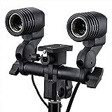 SHOPEE E27 Double Light Socket with Light Stand Swivel Mount & Umbrella Holder for Photography, Film, Video Studio