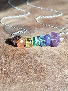 Raw Chakra Necklace Sterling Silver or 14k Gold Filled