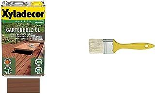 Xyladecor Gartenholz öl 2,5 Liter, Natur Dunkel, SCHULLER Flächenstreicher mit Kunststoffstiel, breite 20 mm, 6 Stärke, 1 Stück