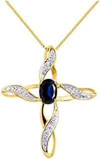 """RYLOS Cross Pendant with Gemstone & Genuine Diamonds in Sterling Silver .925 or 14K Yellow Gold Plated Silver - 7X5MM Color Stone Birthstone Necklace With 18"""" Chain"""