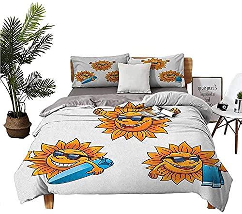 Funda Nórdica Y Funda Almohada Juego Colcha Dibujos Animados Personajes Surf Sun con Cortinas Y Tablas Surf Divertido Hippie Verano Niños Diseño Microfibra 3 Piezas