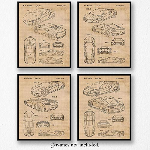 Vintage Acura Honda NSX Concept Patent Poster Prints, Set of 4 (8x10) Unframed Photos, Wall Art Decor Gifts Under 20 for Home, Office, Man Cave, College Student, Teacher Coach, Japan Cars & Coffee Fan