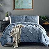 Vailge 3 Piece Pinch Pleated Duvet Cover with Zipper Closure, 100% 120gsm Microfiber Pintuck Duvet Cover, Luxurious & Hypoallergenic Pintuck Decorative (Queen,Blue)