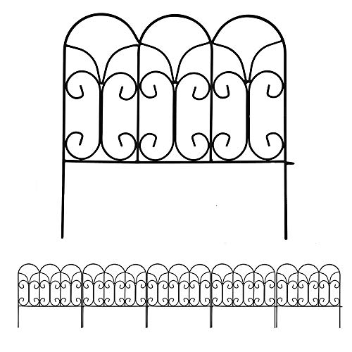 Amagabeli 18In x 7.5ft Decorative Garden Fence Metal Panels Outdoor Rustproof Landscape Wrought Iron Wire Border Fencing Folding Patio Fences Flower Bed Barrier Section Panel Decor Picket Edging Black