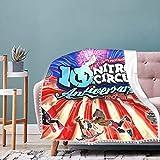 Miwaimao Ni_tro Cir_cus Li_ve - Manta de flecos con pompón, cómoda y cálida, para dormitorio, sala de estar, 40 pulgadas X50