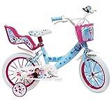 Mondo Toys - Bici Mod. FROZEN II per bambino / bambina - misura 14'' - rotelle e freno anteriore / posteriore - colore azzurro / rosa - 25282