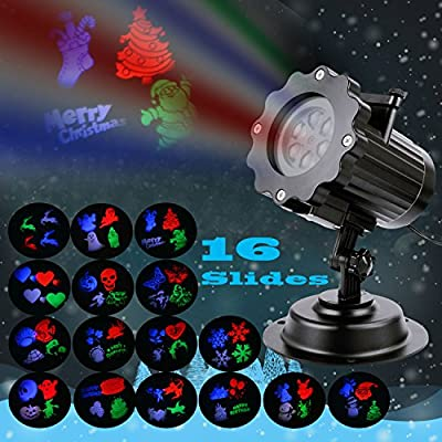 LED Projector Lights Christmas Snowflakes Night Light with 16 Interchangeable Slides, Outdoor Waterproof Landscape Spotlight for Christmas, Birthday, Wedding, Halloween and Garden