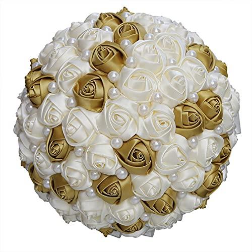 tggh Ramo de novia de 21 cm, hecho a mano, de satén de marfil para dama de honor para marionaje, perlas simples, para bodas, ramos de novia (color dorado marfil)