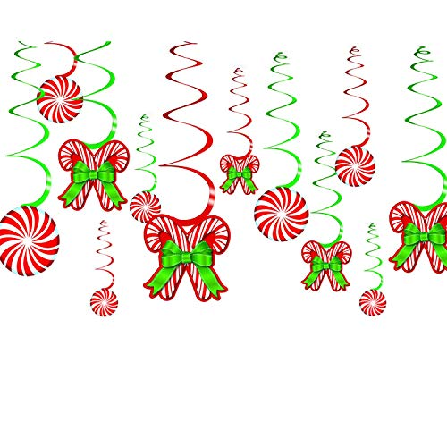 amscan 679852 Candy Cane Foil Swirls Value Pack, 12 Ct.   Christmas Decoration 24'