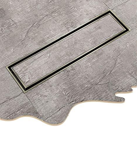 BABYCOW Drenaje de Piso, desagüe de Piso Lineal Anti-Olor - Desagüe de Ducha de Acero Inoxidable 304 Cepillado para Cocina, baño, Ducha, azulejo, Piso, Rejilla de desechos, Anti-obstrucción, Dorado,