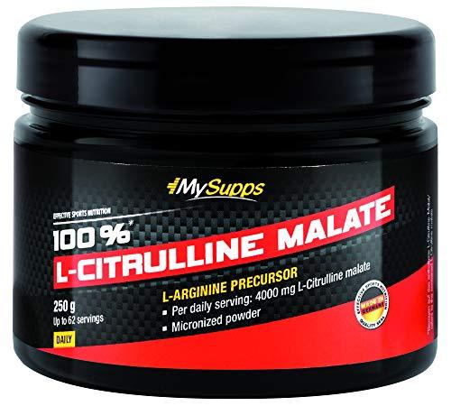 My Supps 100{bbd5a4e114294a40451f4c90c8b960df6874c15ee125558c79bcecb35c23fa02} L-Citrulline Malate 250g - Pre Workout Booster, hochdosiert, vegan, L-Citrullin DL-Malat 2:1, optimale Löslichkeit, laborgeprüft + Vitamin B6 für die bessere Aufnahme, Made in Germany