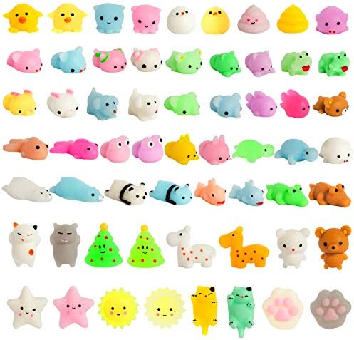 Kizcity 60 Pcs Mochi Squishies Kawaii Squishy Toys for Easter Party Favors Animal Squishies product image
