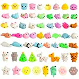 Kizcity 60 Pcs Mochi Squishies, Kawaii Squishy Toys for Easter Party Favors, Animal Squishies Stress Relief Toys for Boys & Girls Birthday Gifts, Easter Event, Classroom Prize, Goodie Bag
