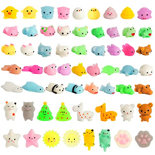 Kizcity 60 Pcs Mochi Squishies  Kawaii Squishy Toys for Party Favors  Animal Squishies Stress Relief Toys for Boys & Girls Birthday Gifts  Classroom Prize  Goodie Bag