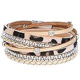 Gleamart Bracelet en Cuir Multicouche Bracelet de Manchette pour Femmes léopard avec Cristal
