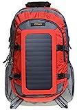 XTPower® SP507BL 6,5 W Mochila Solar en Gris Rojo - Bolsa Solar de Nailon - Mochila Deportiva con función de Carga Solar Desmontable - Panel Solar Integrado con 1x USB 5 V 1 A