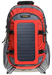 XTPower® SP507BL 6.5W Solar Rucksack in grau rot - Solartasche aus Nylon - Sportrucksack mit Abnehmbarer Solar Ladefunktion - integriertes Solarpanel mit 1x USB 5V 1A