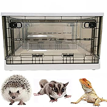 Portable Hedgehog Cage Carrier with Wheels and Handles Collapsible Hamster Cage Plastic Rat House Indoor Outdoor Small Critter Habitat Pet Travel Carrier Box for Hedgehog,Hamster,Rat,Bearded Dragon