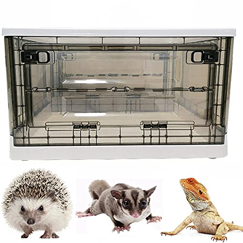 Portable Hedgehog Cage Carrier with Wheels and Handles, Collapsible Hamster Cage Plastic Rat House Indoor Outdoor Small Critter Habitat Pet Travel Carrier Box for Hedgehog,Hamster,Rat,Bearded Dragon