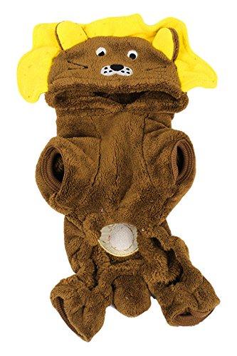 Sourcingmap Warm Pluche Leeuw Stijl Mouwen Yorkie Hond Hoodie Jumpsuit, X-Small, Bruin