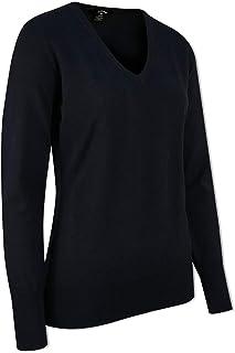 Callaway Women's L/s Low V Neck Sweat Sports Knitwear, Blue