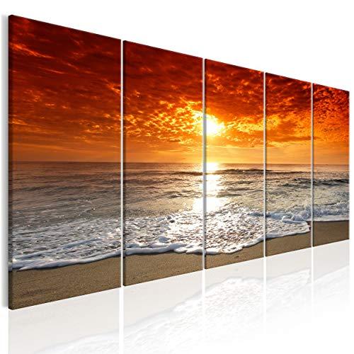 decomonkey Bilder Meer Strand 200x80 cm XXL 5 teilig Leinwandbilder Bild auf Leinwand Vlies Wandbild Kunstdruck Wanddeko Wand Wohnzimmer Wanddekoration Deko Sonne Sonnenuntergang See Himmel