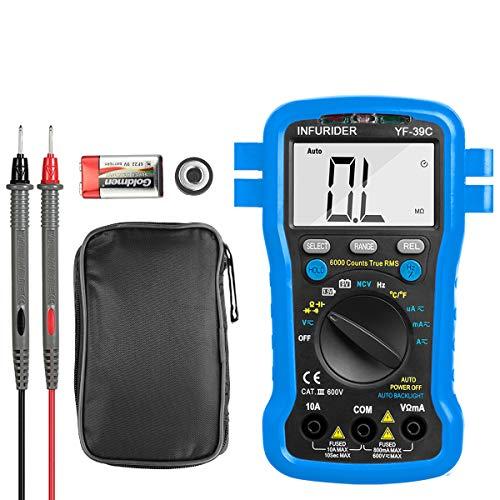 デジタルマルチメーター、INFURIDER YF-39C 真の実効値 6000カウント、電気テスター 電圧、電流、抵抗、導通、静電容量の測定、周波数に応じたDC/AC電圧の自動制御 日本語説明書付き ドライバー付き