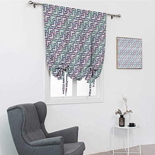 Cortinas geométricas de granja para sala de estar, azulejos de laberinto ramificación, estilo rompecabezas, diseño digital, color blanco, morado, azul oscuro, 76,2 x 162,6 cm
