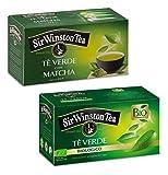 Sir Wiston Tea: 1 x té verde con matcha + 1 x plantaciones de té verde orgánico Nilgiri - 2 x 20 bolsitas de té (70 gramos)