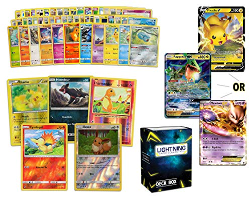 Ultra Rare Pokémon Bundle- 50+ Cards= 50 Cards + 5 foil Cards, 1 Random Legendary Ultra-Rare Card, Plus a Lightning Card Collection Deck Box