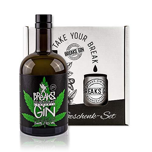 Breaks CANNABIS Gin - Geschenk Set mit Tasse + 1 x 0,5 L Handmade Gin - Kräuternote - Small Batch