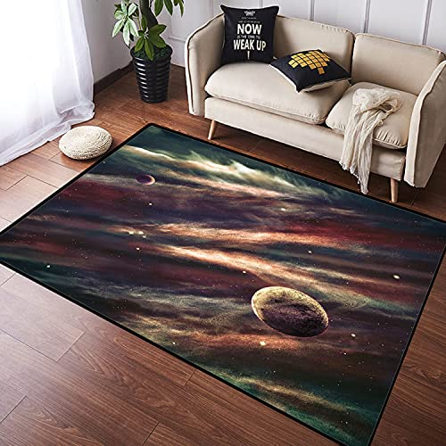 VINISATH Alfombra Salon Granpelo Corto Planetas sobre Nebulosa Nube Gas Espacio Galaxia mística Estrella Suave Antideslizante Alfombras Dormitorio Modernas Lavables Sala Habitación Infantil 100x160cm