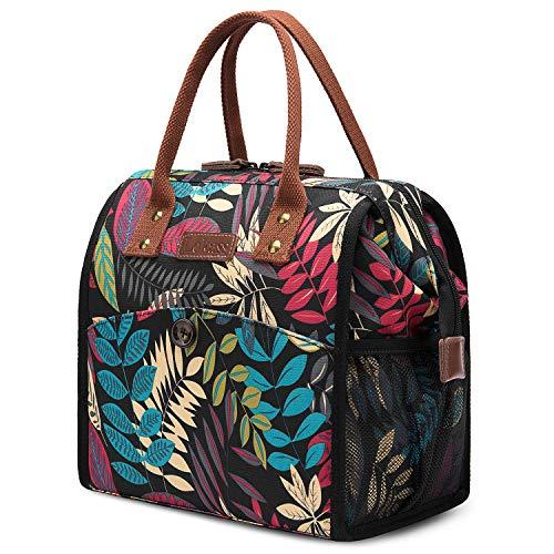 UTOTEBAG Sac Isotherme Repas Lunch Bag Sac Déjeuner Portable 10L pour Pique-Nique/École/Travail/Familie/Enfant/Hommes/Femmes -Feuilles Multicolore Noir