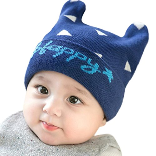 LNGRY Cute Baby Beanie for Boys Girls Cap Letter Cotton Hat Children Print Hats (Navy)