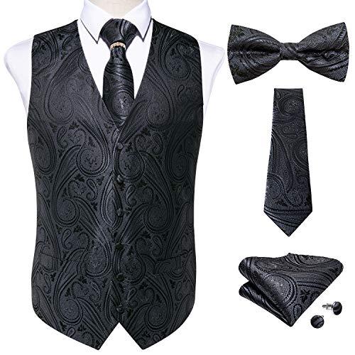 DiBanGu Herren-Weste, formeller Anzug mit Paisleymuster und Krawatte, Einstecktuch, Manschettenknöpfe, Set für Hochzeit, S-3XL Gr. XXXL, 16 Grau